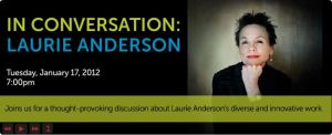 Website flash Banner for Laurie Anderson event